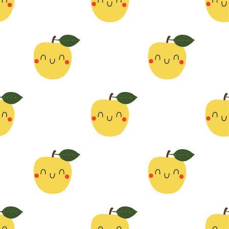 Kawaii Cartoon Apple. Colored Seamless Vector Patterns  イラスト・ベクター素材