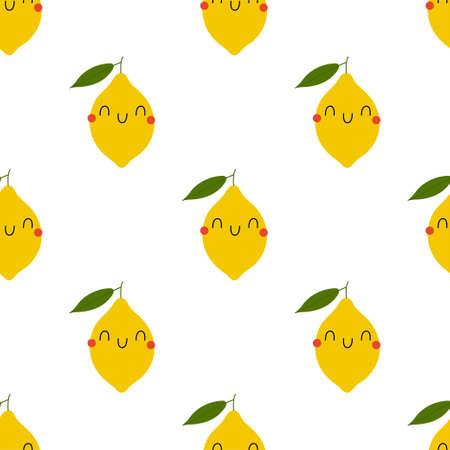 Kawaii Cartoon Lemon. Colored Seamless Vector Patterns