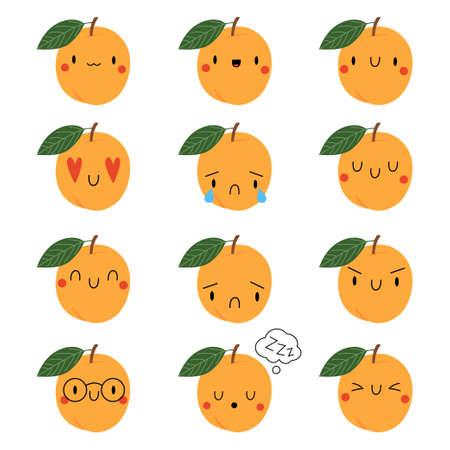 Set Kawaii Cartoon Apricot. Vector Illustration. Social media comment reactions, smile, sad, love, like, Lol, laughter emoji
