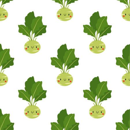 Kawaii Cartoon Cabbage Kohlrabi. Fresh and healthy food. Seamless Vector Patterns