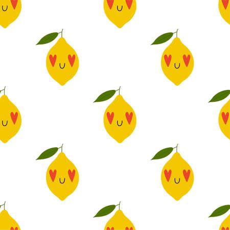 Kawaii Cartoon Lemon in love. Seamless Vector Patterns