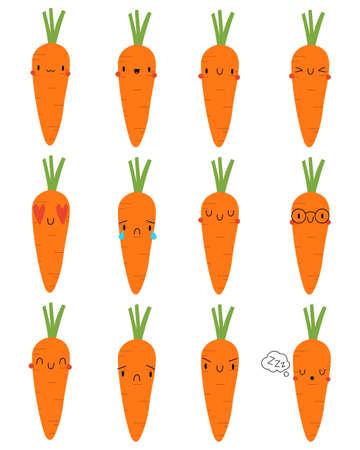 Set Kawaii Cartoon Carrot. Vector Illustration. Social media comment reactions, smile, sad, love, like, Lol, laughter emoji