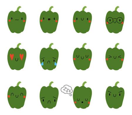 Set Kawaii Cartoon Pepper. Vector Illustration. Social media comment reactions, smile, sad, love, like, Lol, laughter emoji