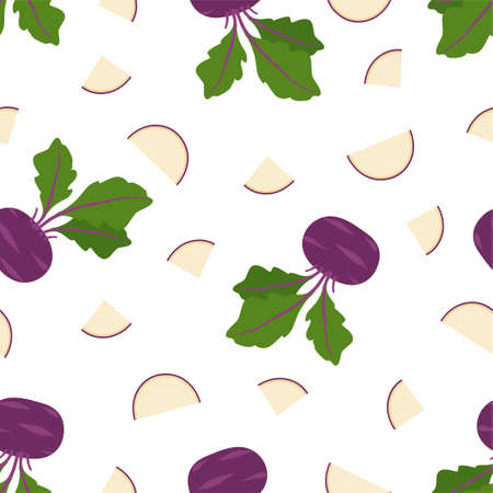 Vegetable Cabbage Kohlrabi. Fresh and healthy food. Seamless Vector Patterns