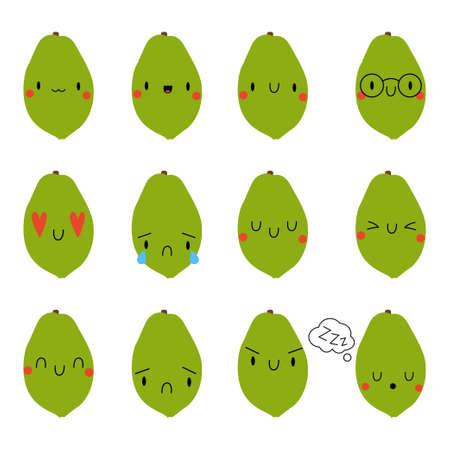 Set Cartoon Papaya. Vector Illustration . Social media comment reactions, smile, sad, love, like, Lol, laughter emoji