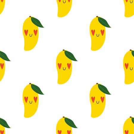 Cartoon Mango in love seamless pattern  イラスト・ベクター素材