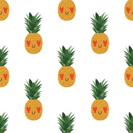 Cartoon Pineapple in love seamless pattern
