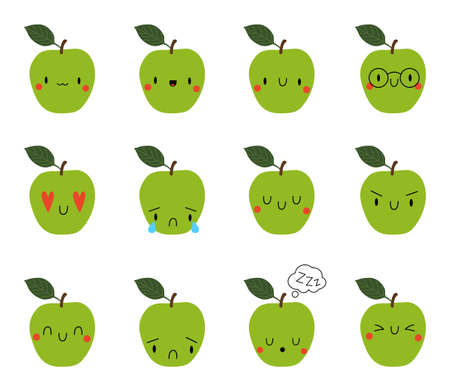 Set Cartoon Apple with face expression