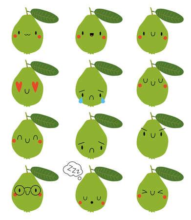 Set Cartoon Guava with face expression Ilustração