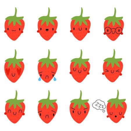 Set Cartoon Strawberry with face expression Ilustração