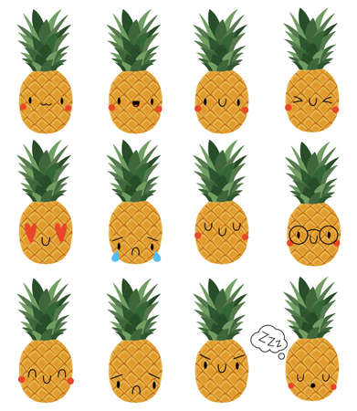 Set Cartoon Pineapple with face expression