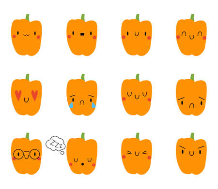 Set Cartoon Pepper with expression face