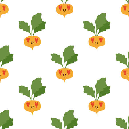 Cartoon Turnip in love. Vegetables, healthy food. Seamless Vector Patterns  イラスト・ベクター素材