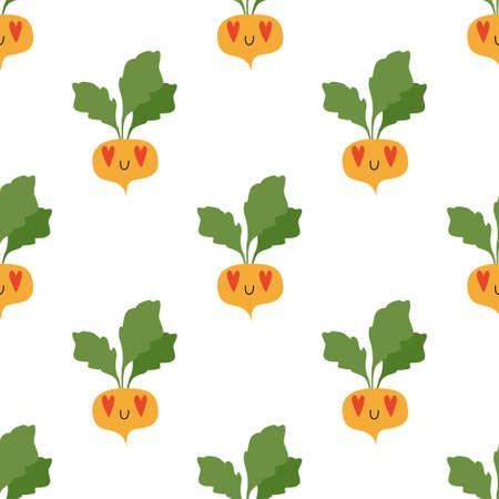 Cartoon Turnip in love. Vegetables, healthy food. Seamless Vector Patterns Illustration