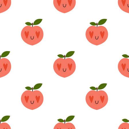 Cartoon Peach in love seamless pattern  イラスト・ベクター素材