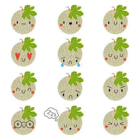 Set  Cartoon Melon with expression face