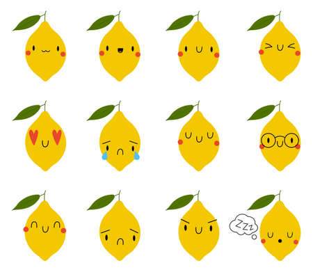 Set of cartoon lemon with expression face