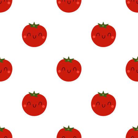 Cartoon Tomato seamless pattern