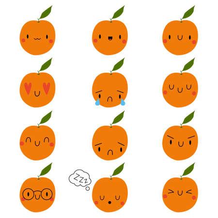 Set  Cartoon Orange with expression face