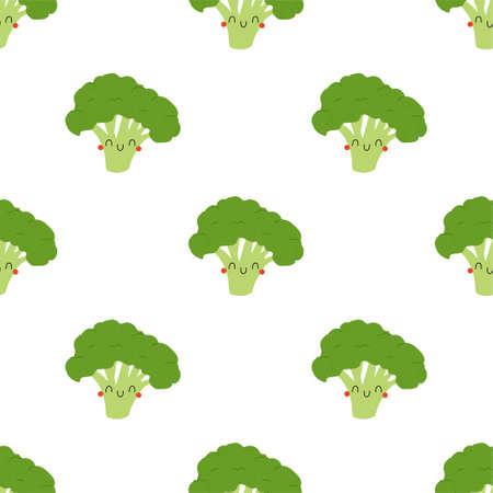 Cartoon Broccoli cabbage seamless pattern
