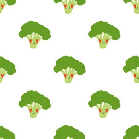 Cartoon Broccoli in love. Seamless Vector Patterns Illusztráció