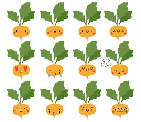Set Cartoon Turnip. Vector Illustration . Social media comment reactions, smile, sad, love, like, Lol, laughter emoji