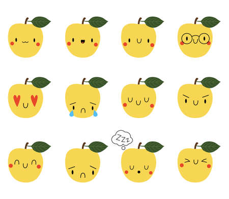 Set  Cartoon Apple with expression face