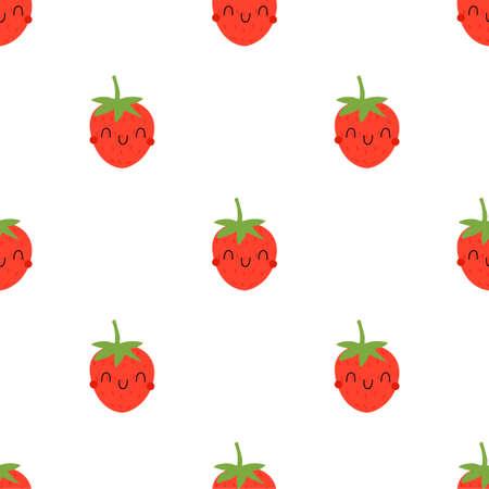 Cartoon Strawberry seamless pattern  イラスト・ベクター素材