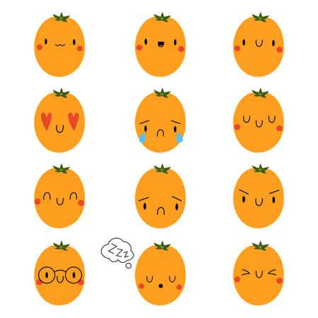 Set  Cartoon Tomato with expression face Ilustração