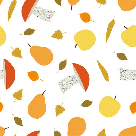 Autumn seamless patterns. Seamless pattern with pear, apple and mushrooms. Vector illustration