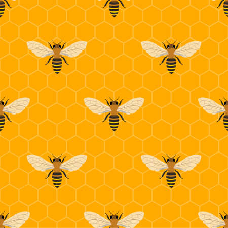 Vector seamless pattern with honey bee and honeycomb.