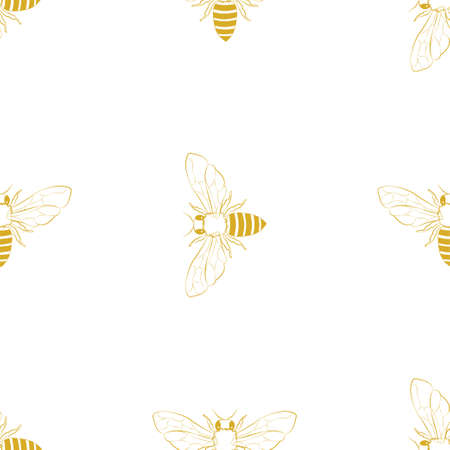 Vector seamless pattern with honey bee. Illustration