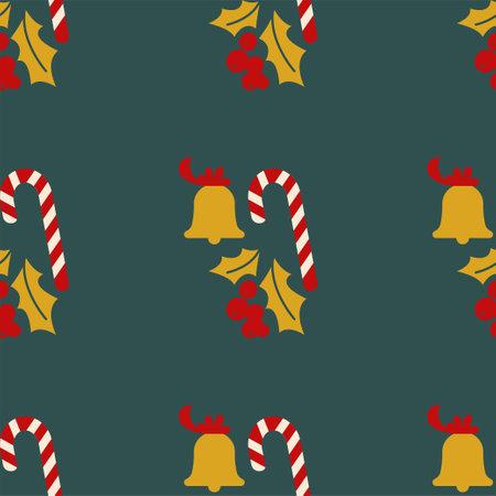 Christmas mistletoe, candy and Golden bell. Illusztráció