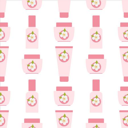Spring Skin Care Cosmetics. Vector illustration