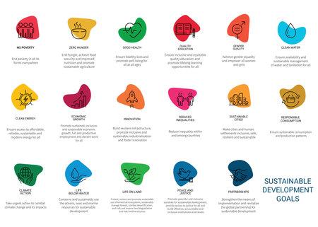 Icons Set Sustainable Development Goals. Vector illustration Illusztráció