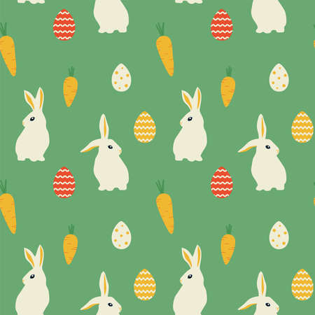 Easter bunnies and eggs. Vector seamless pattern