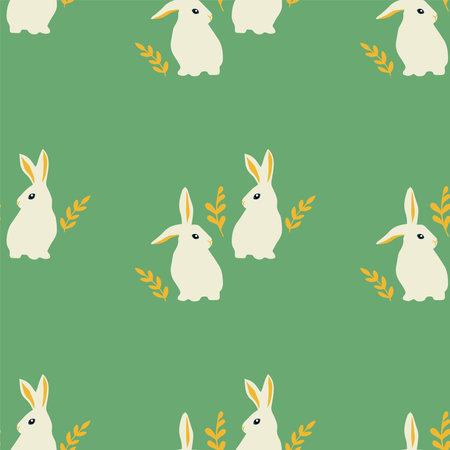 Easter bunnies. Background with rabbits. Vector seamless pattern Illusztráció