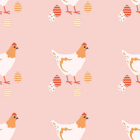 Easter chicken and eggs. Background with chickens. Vector seamless pattern