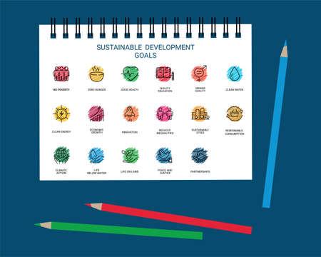 Sustainable Development Goals set design with color pencil Illusztráció
