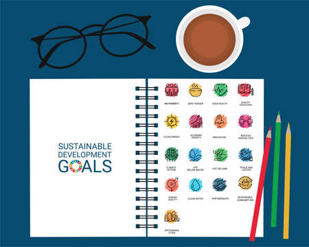 Sustainable Development Goals set design in a book with color pencil, a cup of coffee and glasses. Illusztráció