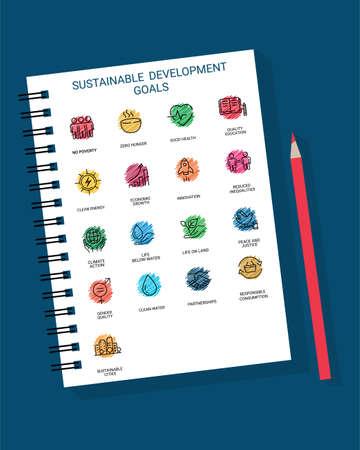 Sustainable Development Goals set design in a book with color pencil Illusztráció