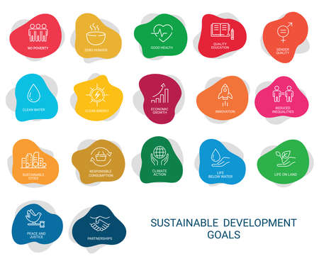 Icons Set .Sustainable Development Goals. Vector. White background