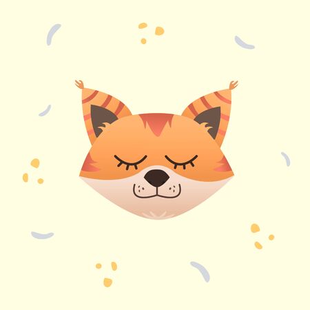 Cute fox sleeping, flat design, vector illustration