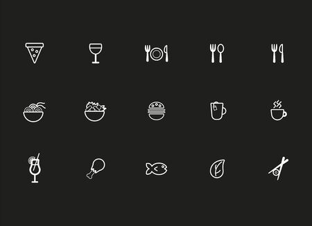 Restaurant icon set suitable for info graphics, websites and print media. Black and white flat line icons.
