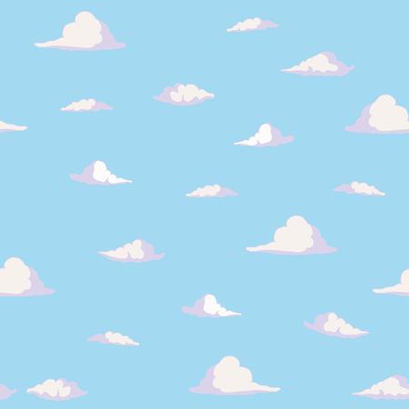 Seamless pattern Vector cartoon clouds in blue sky. Beautiful summer landscape. Vector illustration.