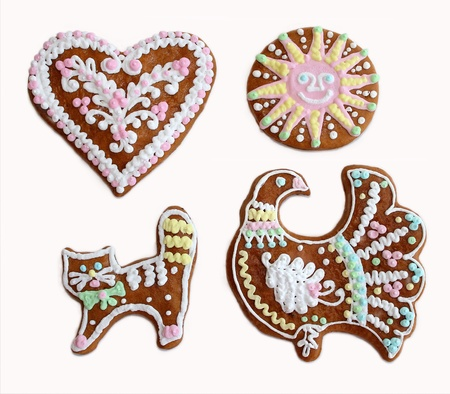 Russian traditional north painted gingerbread on white background photo