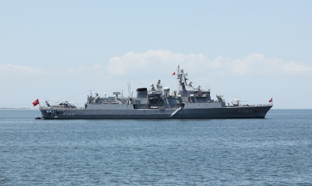 Turkish military ship in Izmir bay  Photo taken on  May 25th, 2013