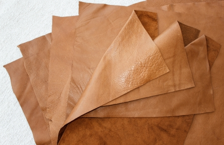 Pieces of brown leather
