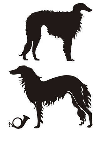borzoi: Russian Wolfhounds silhouettes
