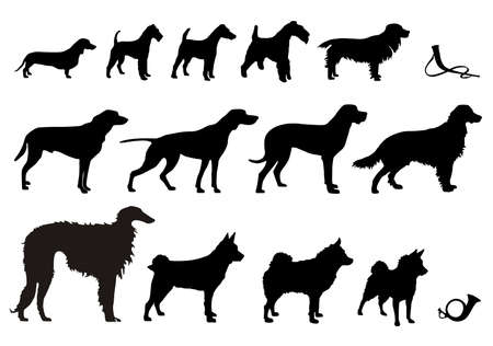 Set of Silhouettes hunting dogs and hunting horns